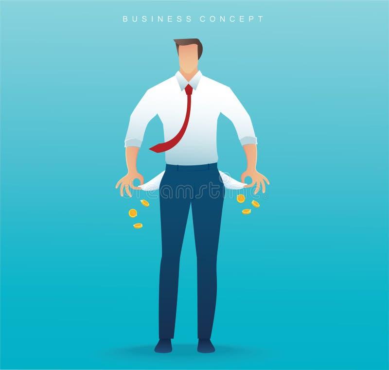 armer Mann, der seine leeren Taschen auf blauer Hintergrundvektorillustration zeigt vektor abbildung