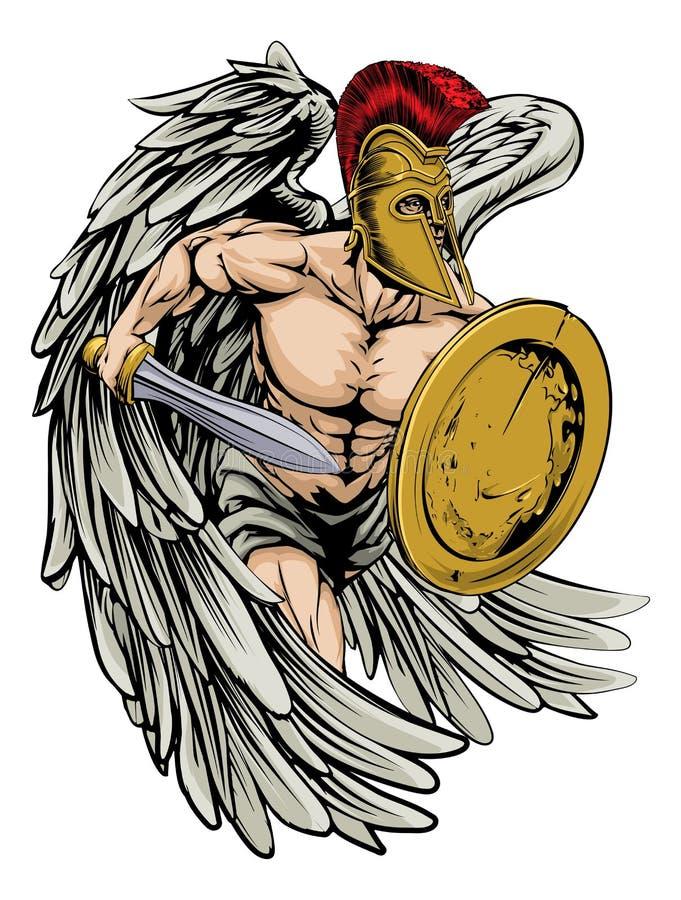Armerad ängel royaltyfri illustrationer