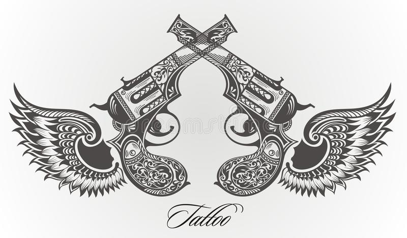 Armes à feu avec la conception de tatouage d'ailes illustration de vecteur