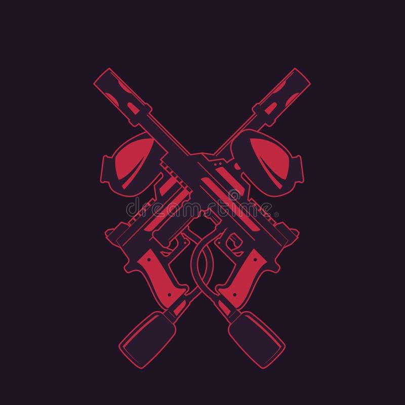 Armes à feu croisées de paintball sur l'obscurité illustration stock