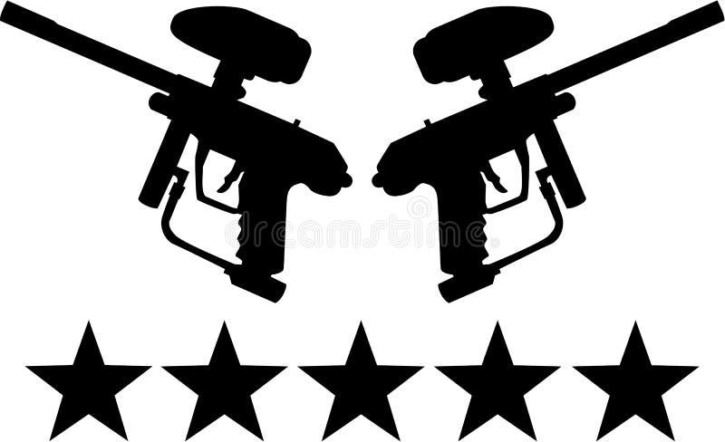 Armes à feu de Paintball avec cinq étoiles illustration stock