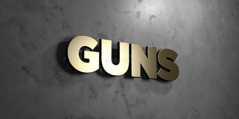 Armes à feu - signe d'or monté sur le mur de marbre brillant - illustration courante gratuite de redevance rendue par 3D illustration libre de droits