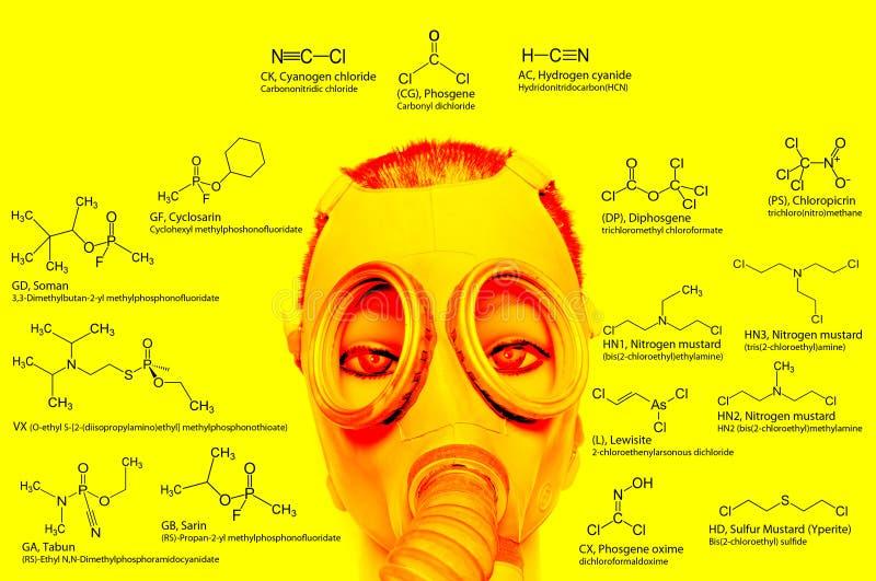 Armes chimiques, constitutions chimiques : sarin, tabun, soman, VX, lewisite, gaz de moutarde, gaz lacrymogène, chlore photo stock