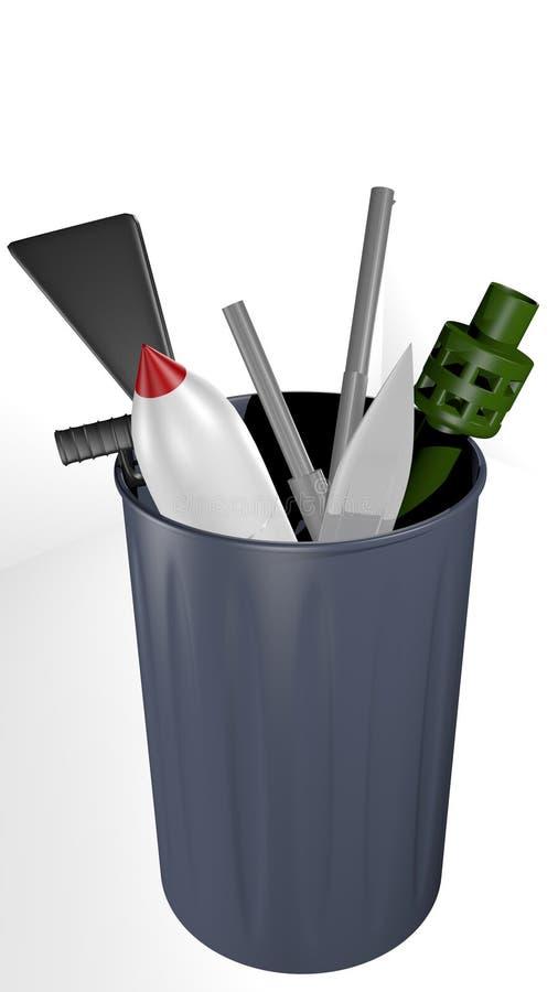 Armes dans la poubelle illustration de vecteur