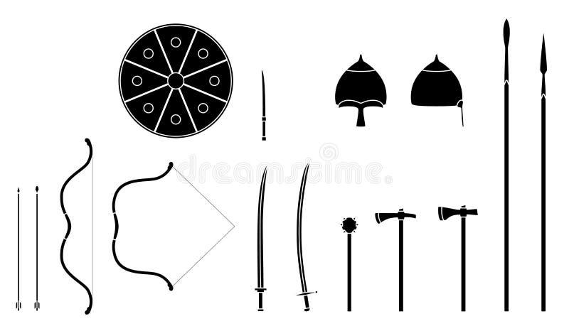 Armes mongoles et armures réglées Équipement mongol de guerrier de nomade illustration de vecteur