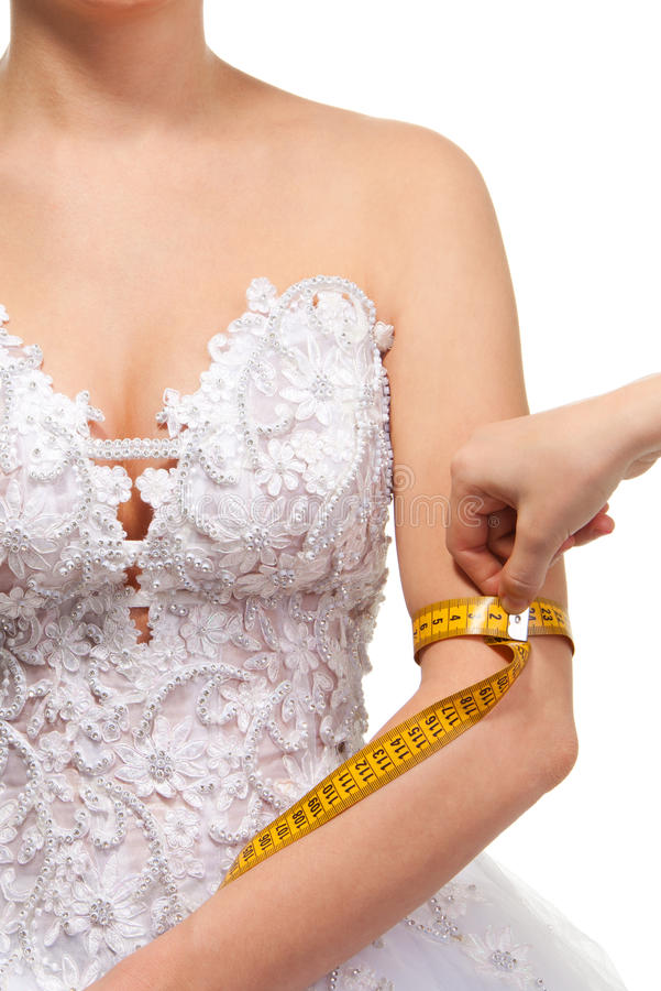 Armgröße der messenden Frau lizenzfreie stockbilder