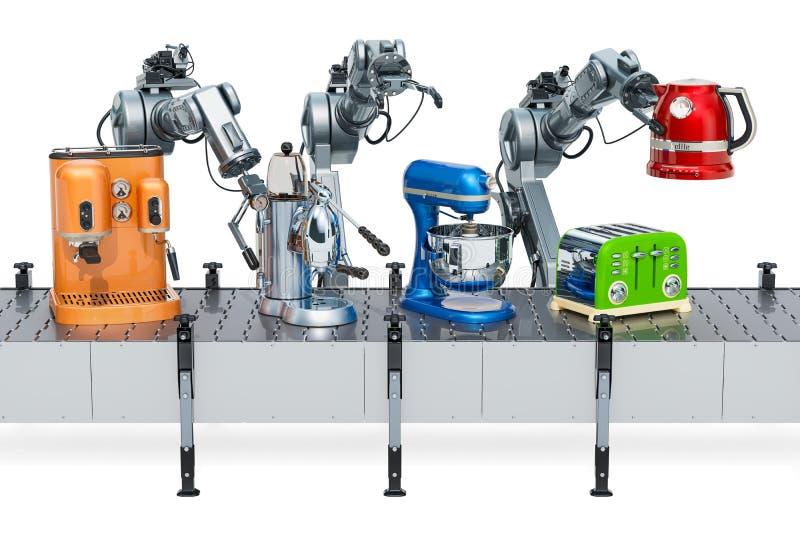 Armi robot con gli elettrodomestici da cucina della famiglia sul trasportatore b royalty illustrazione gratis