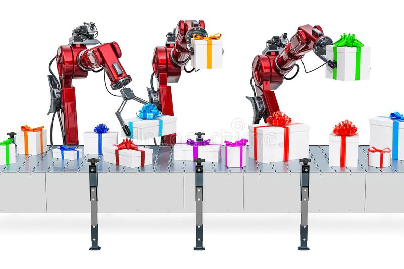 Armi robot con i contenitori di regalo sul nastro trasportatore, rappresentazione 3D illustrazione di stock