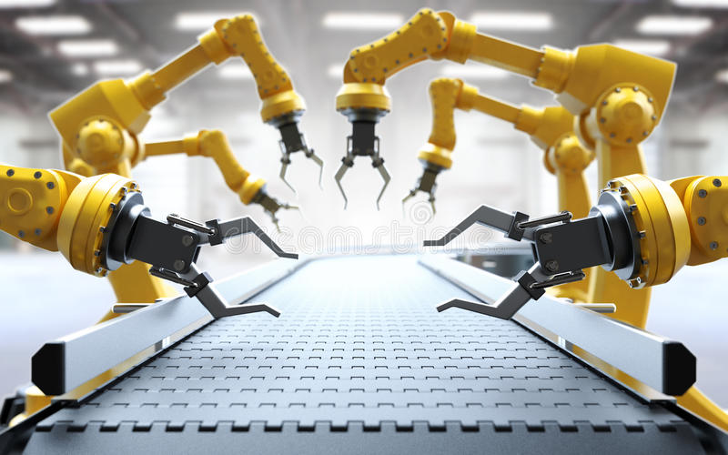 Armi robot con il nastro trasportatore royalty illustrazione gratis