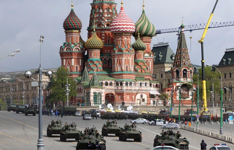 Armi russe Ripetizione della parata militare immagine stock libera da diritti