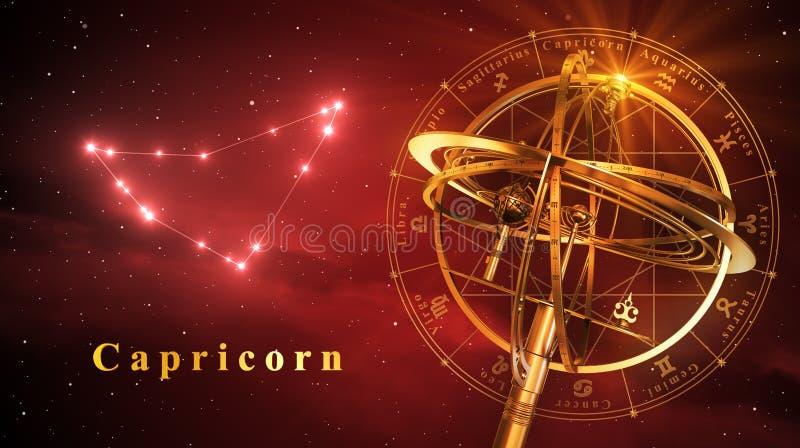 Armilarnej sfery I gwiazdozbioru Capricorn Nad Czerwonym tłem royalty ilustracja