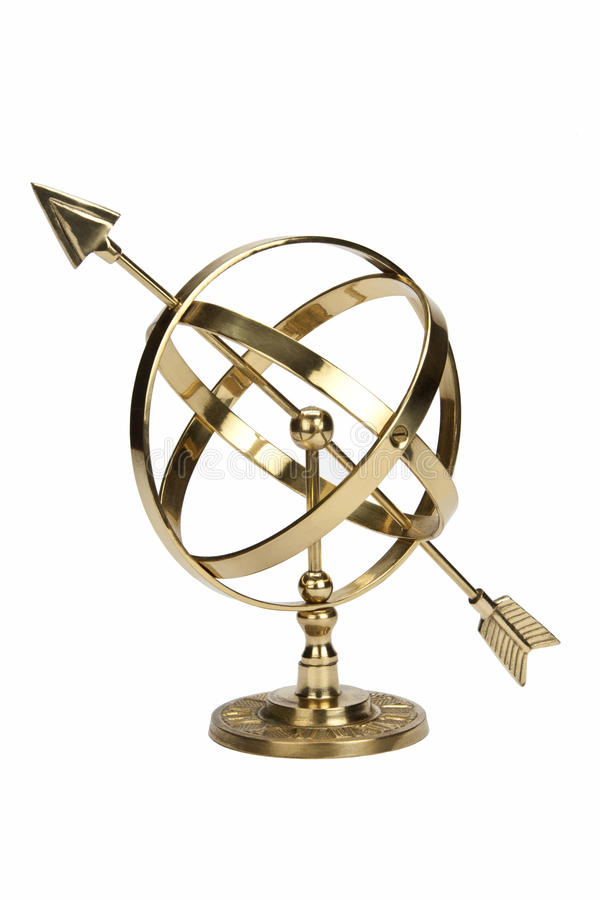 Armillary Sphere - Isolated. Armillary Sphere or Armilla - a celestial globe consisting of metal hoops. Used by early astronomers to determine the positions of stock images