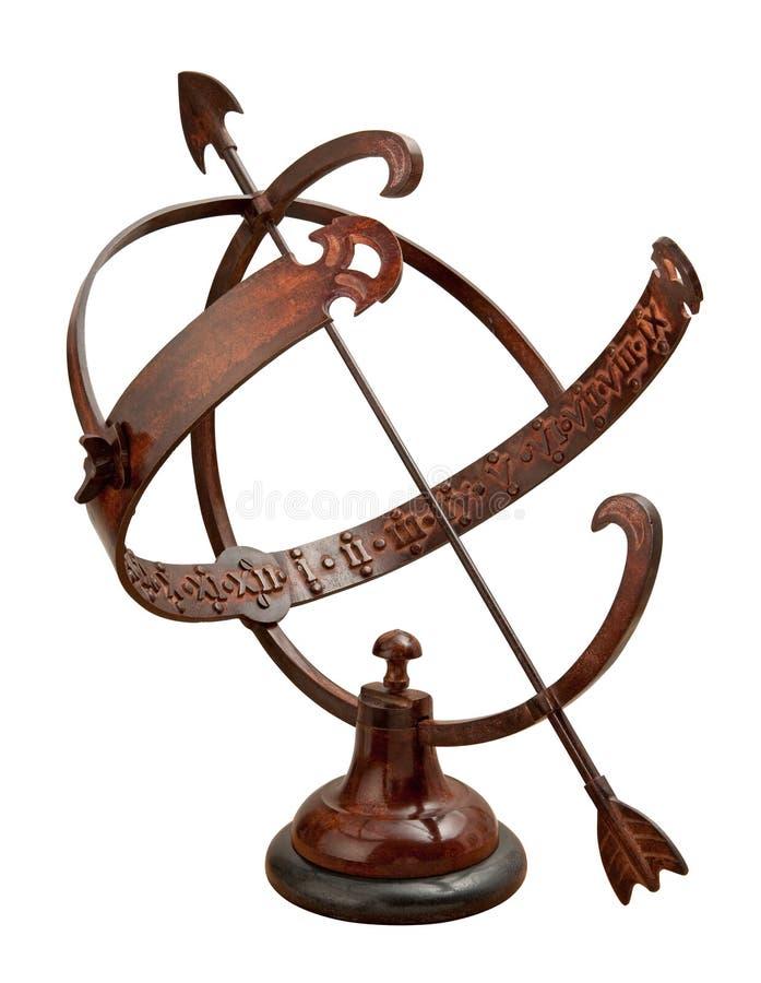 armillary sundial för clippingbana royaltyfri foto