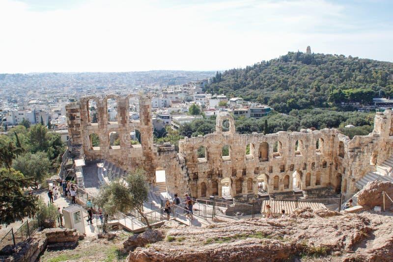 Armitheater antiguo preservado en la acrópolis en Atenas imagen de archivo libre de regalías