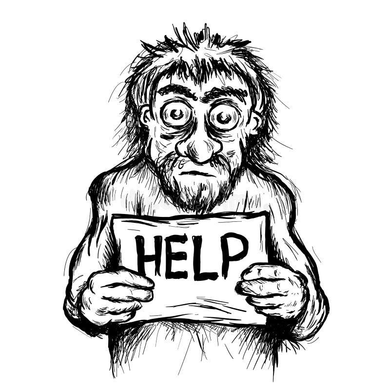 Armod - den fattiga tiggaren tigger med plakatet vektor illustrationer