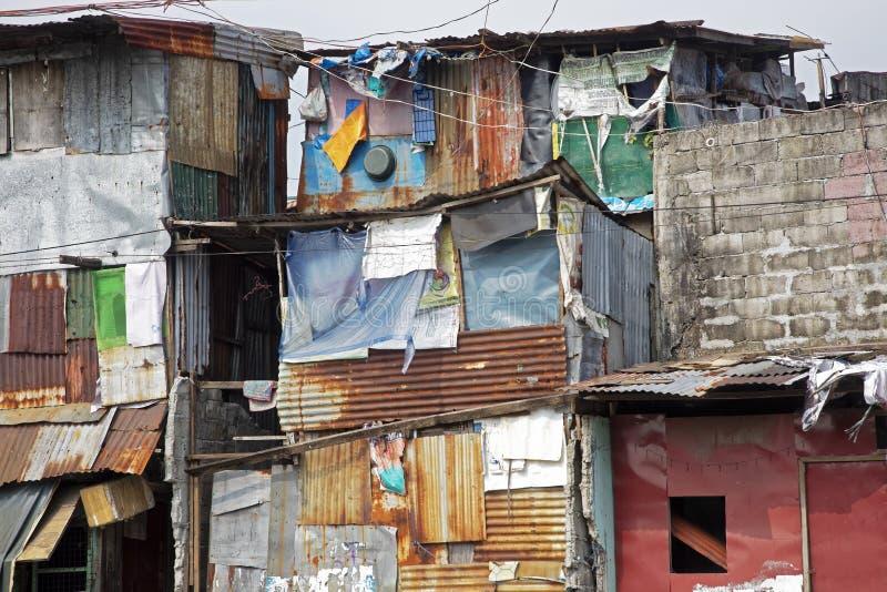 Armoede in de straten van Manilla in de Filippijnen stock foto's