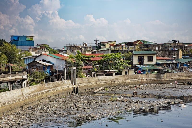 Armoede in de straten van Manilla in de Filippijnen royalty-vrije stock foto