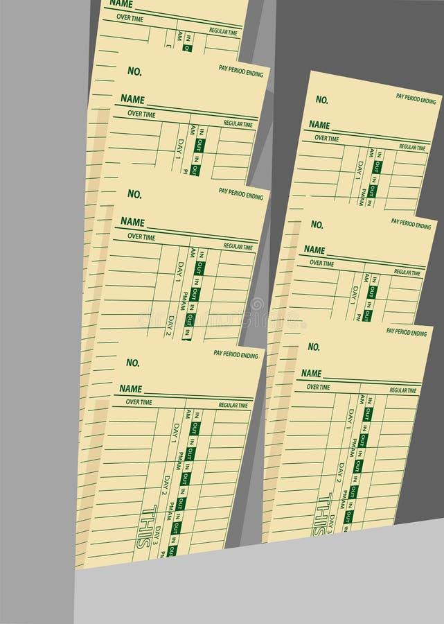 Armoire de feuilles de présence de salaires hebdomadaires de fiches de présence illustration de vecteur