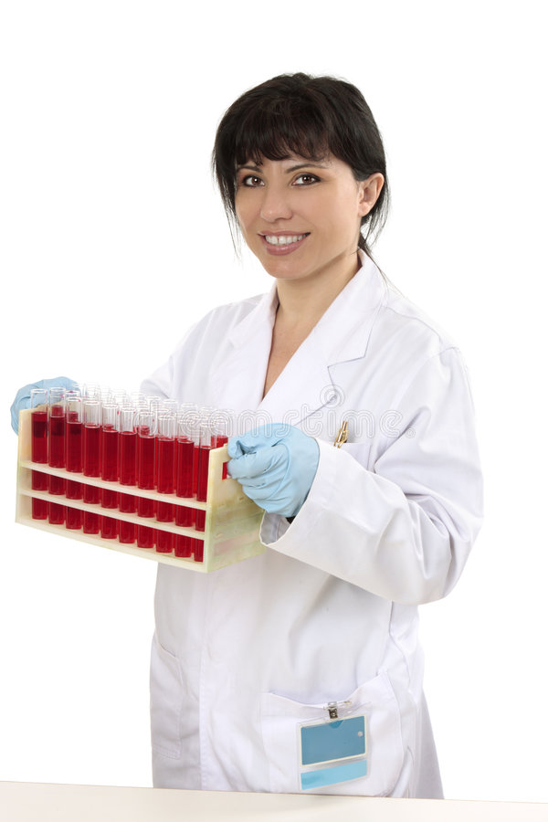 Armoire de transport femelle des tubes à essai image stock