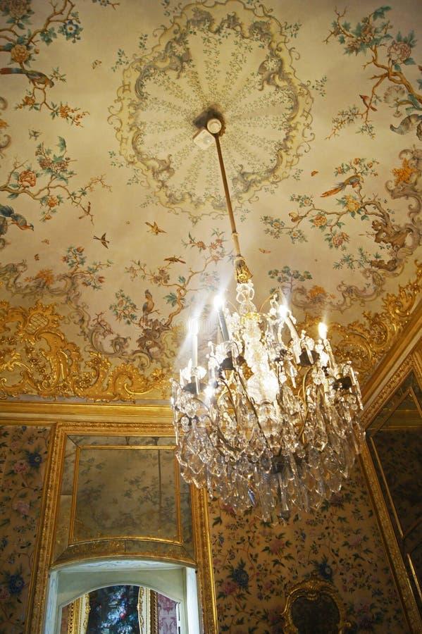 Armoire intérieure de Stupinigi de palais royal de l'Italie Turin décorée dans des motifs orientaux image libre de droits