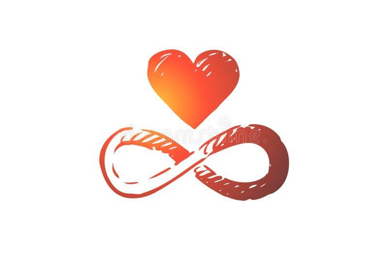 Armonía, corazón, balanza, corazón, concepto de la unidad Vector aislado dibujado mano ilustración del vector