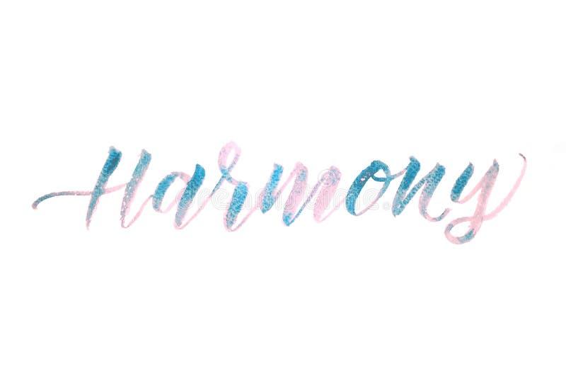 Armonía de la palabra escrita con la acuarela aislada en el fondo blanco fotos de archivo