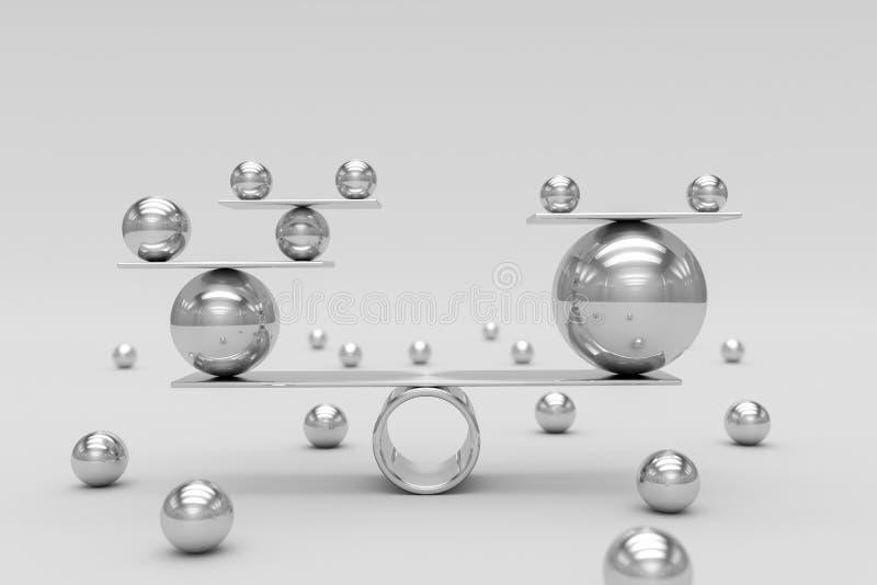 Armonía perfecta de las bolas brillantes del cromo Concepto del trabajo en equipo, del riesgo y de la balanza stock de ilustración