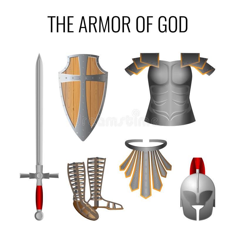 Armor of God elements set isolated on white. Vector. Set of armor of God elements isolated on white. Long sword of the spirit, sandals of readiness, belt of stock illustration