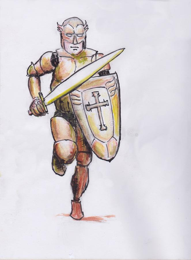 Armour of God. Armor of God,  hand drawing, a christian themed hand drawing of soldier running wearing armour and holding shield and sword royalty free illustration