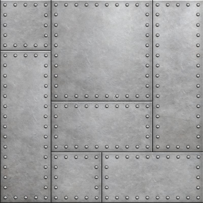 Armor plates with rivets as seamless metal background 3d illustration. Armor shields with rivets as metal background vector illustration