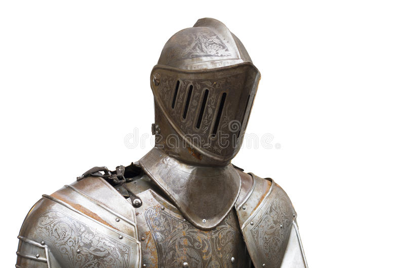 Armor suit. Upper part of a medieval full armor suit against a white background royalty free stock photos