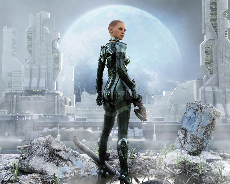 Armored женщина-солдат представляя перед футуристическим городом иллюстрация вектора