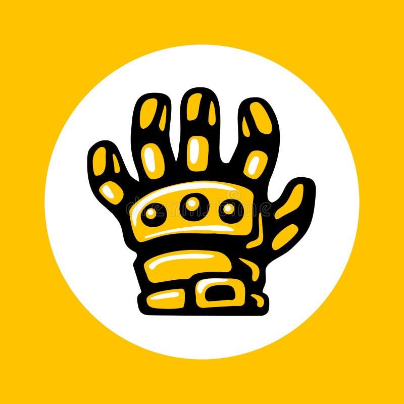 Armored значок перчаток в ультрамодном плоском стиле изолированный на белой предпосылке иллюстрация вектора