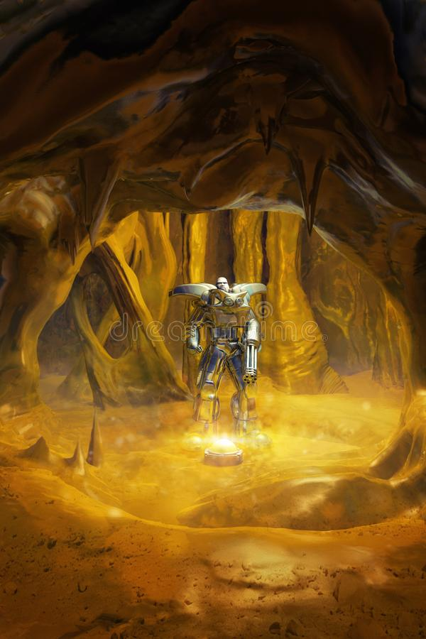 Armored футуристическое warrrior солдата иллюстрация штока