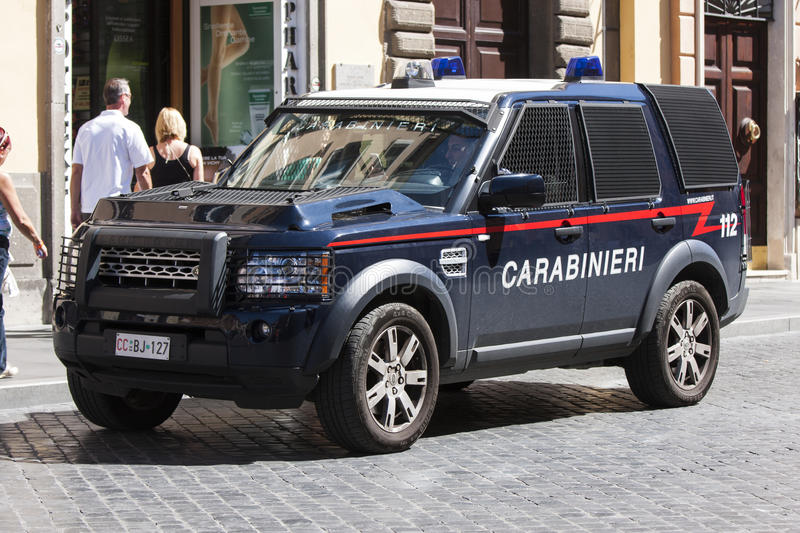 Armored car italian Police (Carabinieri). An armored car of the police stop on a street in the historic center of the city of Rome (Italy). The Carabinieri ( royalty free stock photography