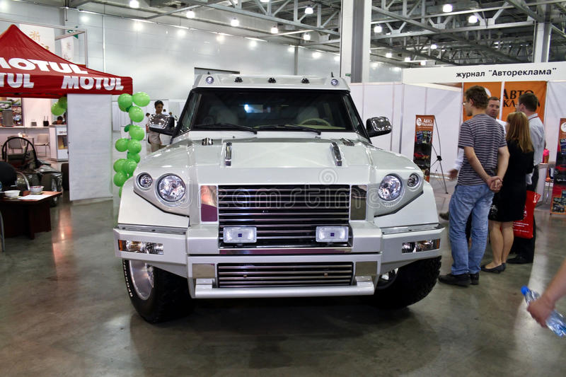 Armored car Kombat T98. MOSCOW - AUGUST 25: Armored car Kombat T98 at the international exhibition of the auto and components industry, Interauto on August 25 royalty free stock photos