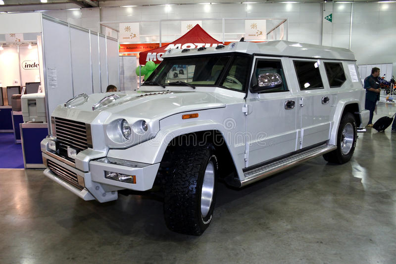 Armored car Kombat T98. MOSCOW - AUGUST 25: Armored car Kombat T98 at the international exhibition of the auto and components industry, Interauto on August 25 stock photography