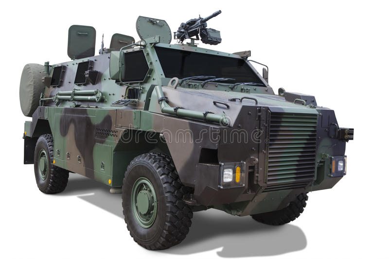 Armored car with machine gun. Image of heavy armored car with machine gun, isolated on white background royalty free stock images