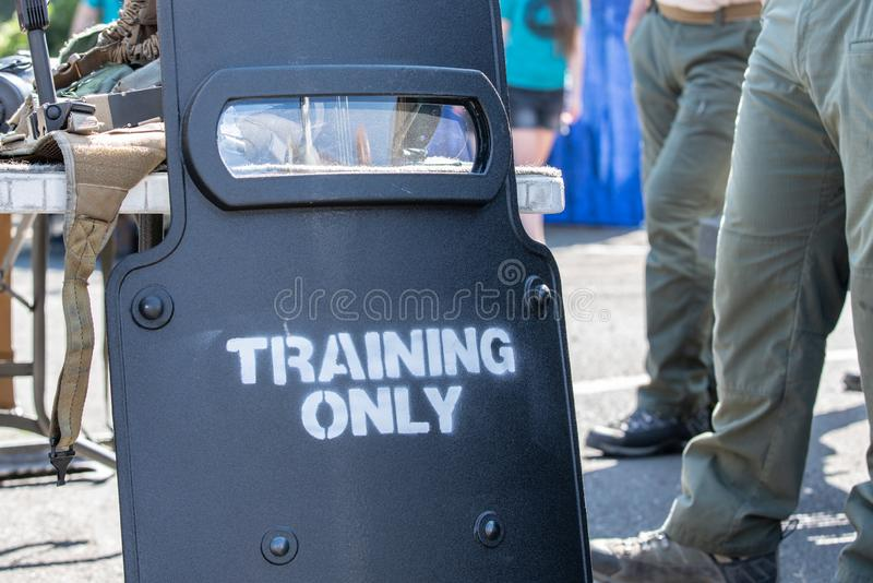Armored military shield for special operations stock image
