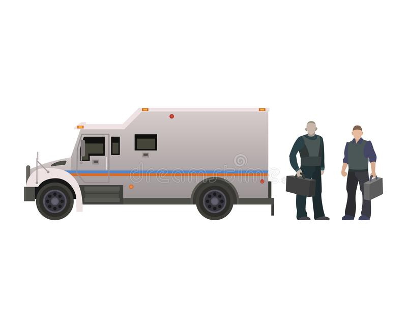 Armored money carrier vehicle vector bank van transport car side view illustration armor set of minivan truck with money royalty free illustration