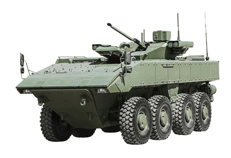 Armored personnel carrier on a unified platform battle isolated royalty free stock image