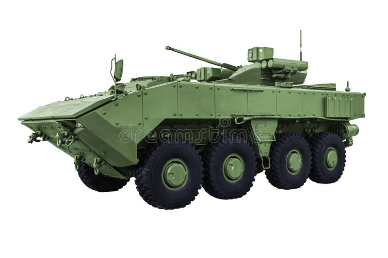 Armored personnel carrier on a white background royalty free stock photo