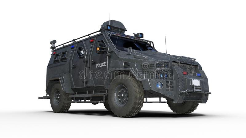 Armored SUV truck, bulletproof police vehicle, law enforcement car isolated on white background, bottom view, 3D render stock illustration