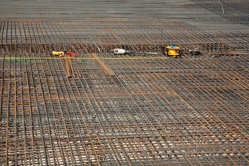 Armoring at the building site to stabilize the fundament made of. Iron stock photo