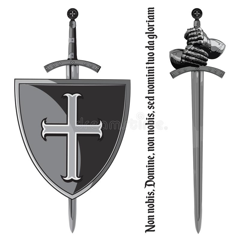 Armour gloves of the knight, shield and the sword of the Crusader. Isolated on white, vector illustration stock illustration