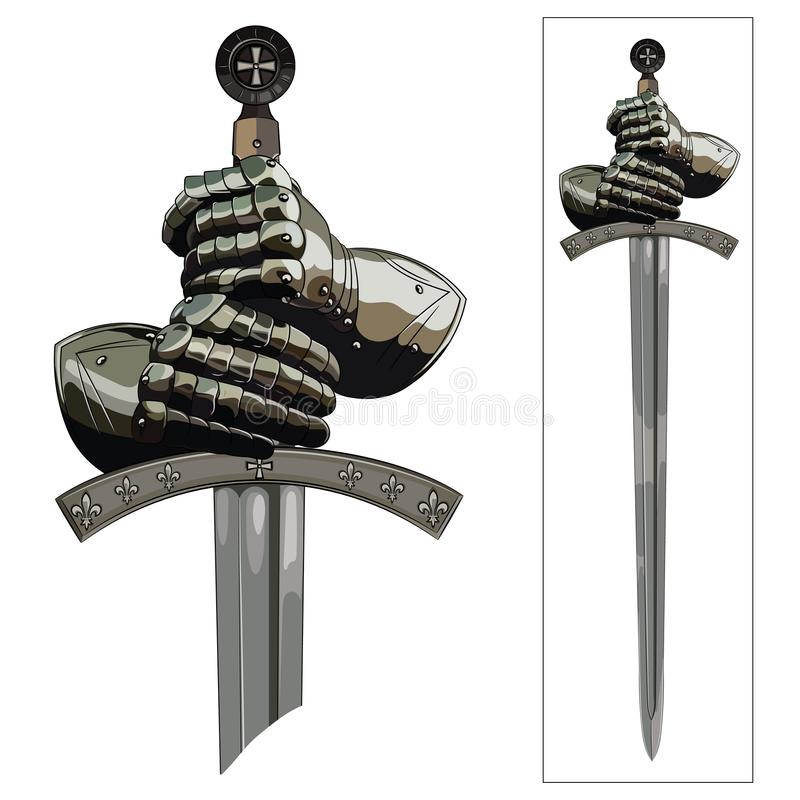 Armour gloves of the knight and the sword of the Crusader. Isolated on white, vector illustration royalty free illustration