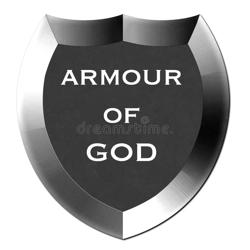 Armour of God Shield. Armour of God metal shield in silver vector illustration