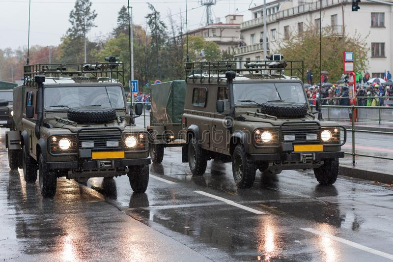 Armour off road vehicle on military parade  in Prague, Czech Republic royalty free stock photography