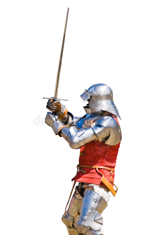 Armoured knight. In defensive position. White background stock images