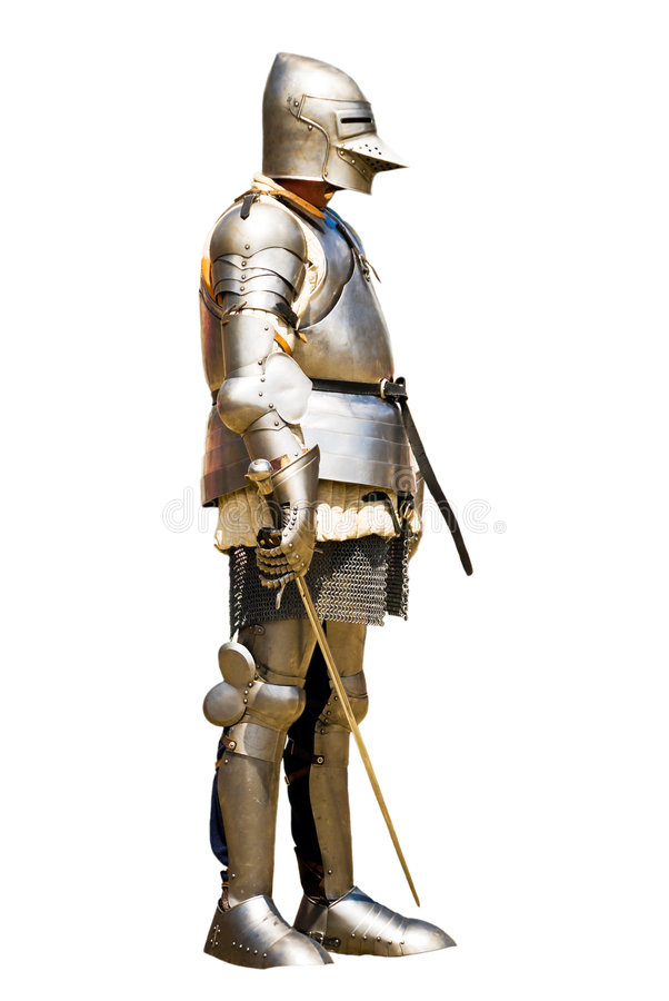 Armoured knight. Before a tournament. White background stock images
